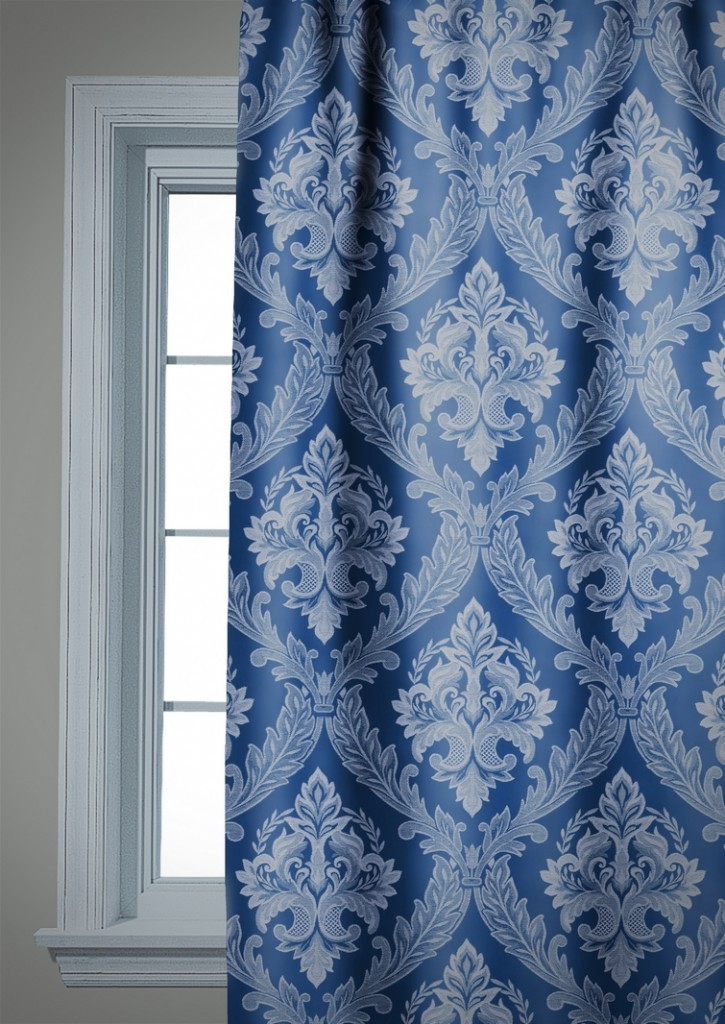 Blue Black Out Curtain